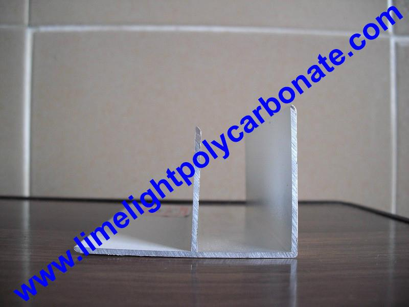 Aluminium F profile for end closure of PC sheet on the beam or side wall fixing 16