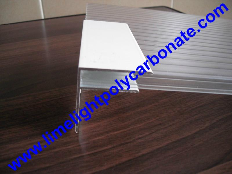 Aluminium F profile for end closure of PC sheet on the beam or side wall fixing 6