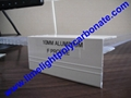 Aluminium F profile for end closure of PC sheet on the beam or side wall fixing