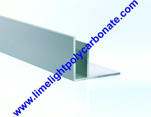 Aluminium F profile for end closure of PC sheet on the beam or side wall fixing 17