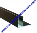 Aluminium F profile for end closure of PC sheet on the beam or side wall fixing 18