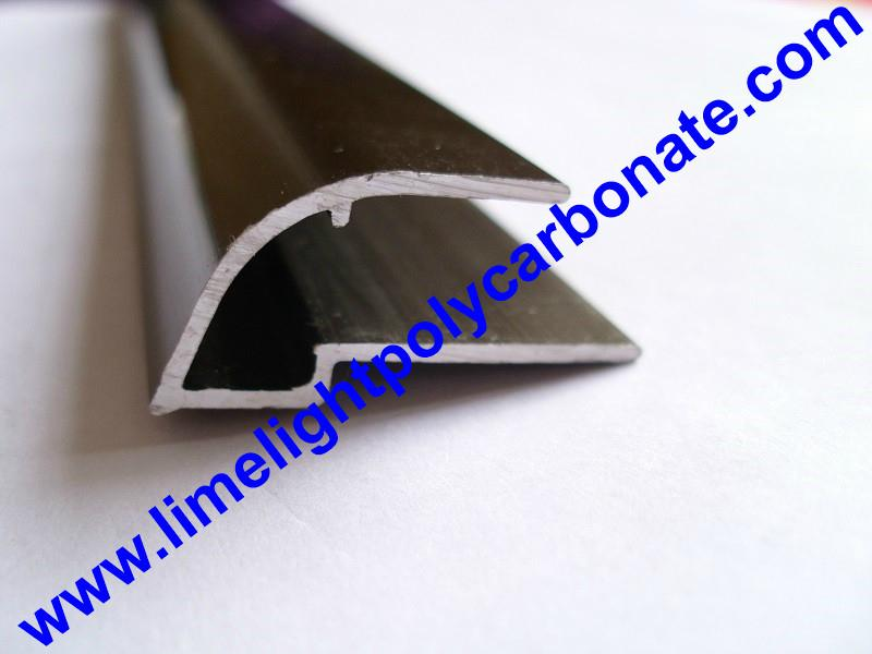 Aluminium U profile with gutter for polycarbonate sheet