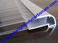 Aluminium U profile with gutter for polycarbonate sheet water drainage