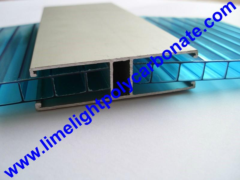 1mm Wall Thickness Aluminium H Profile For 8mm 10mm Polycarbonate