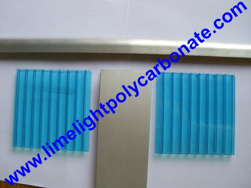 1mm wall thickness aluminium H profile for 8mm & 10mm polycarbonate hollow sheet 4