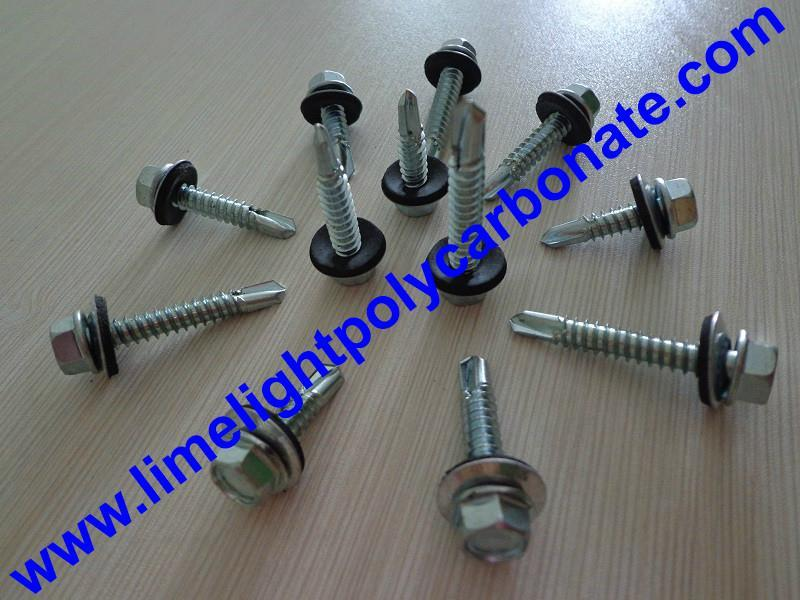 Self drilling metal screw with EPDM gasket for polycarbonate sheet & PVC sheets  1