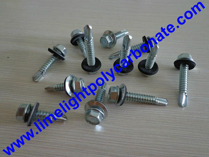 Self drilling metal screw with EPDM gasket for polycarbonate sheet & PVC sheets  3