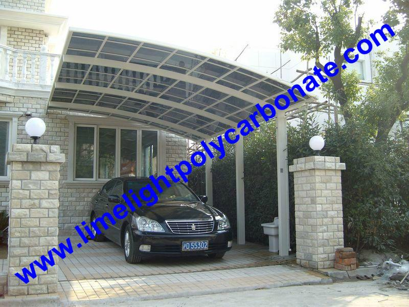 Polycarbonate glazing carport roofing