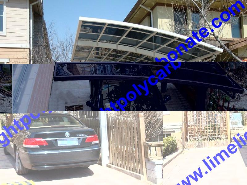 Double aluminium carport with white frame and blue polycarbonate solid roofing 15