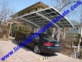 Double aluminium carport with white frame and blue polycarbonate solid roofing 18