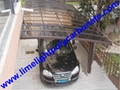 Double aluminium carport with white frame and blue polycarbonate solid roofing 20