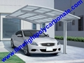 single aluminium awning with white frame and bronze polycarbonate solid roofing 6