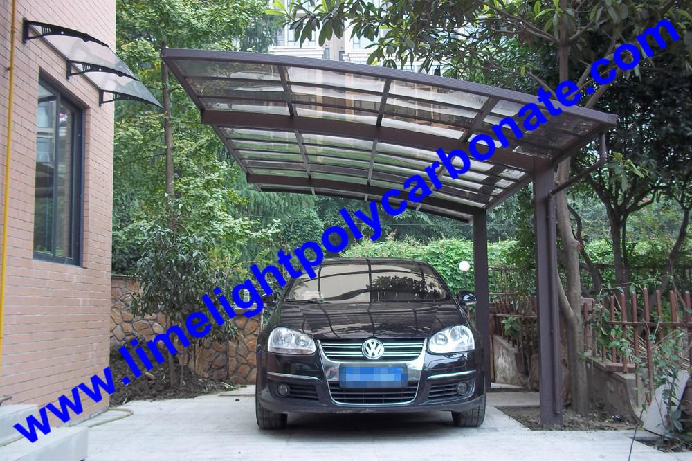 single aluminium awning with white frame and bronze polycarbonate solid roofing 7