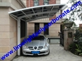 single aluminium awning with white frame and bronze polycarbonate solid roofing 14