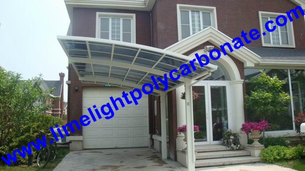 single aluminium awning with white frame and bronze polycarbonate solid roofing 15