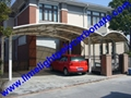 double aluminium carport with dark brown frame and bronze PC solid roofing panel 2