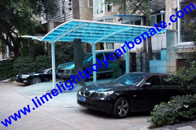 double aluminium carport with dark brown frame and bronze PC solid roofing panel 3