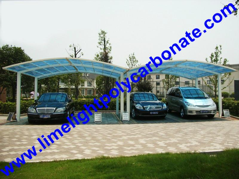 double aluminium carport with dark brown frame and bronze PC solid roofing panel 6