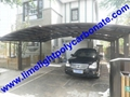 double aluminium carport with dark brown frame and bronze PC solid roofing panel 7