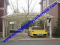 double aluminium carport with dark brown frame and bronze PC solid roofing panel 9