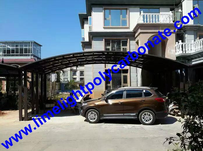 double aluminium carport with dark brown frame and bronze PC solid roofing panel 11