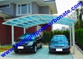 double aluminium carport with dark brown frame and bronze PC solid roofing panel 13