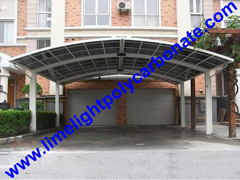 double aluminium carport with dark brown frame and bronze PC solid roofing panel 15
