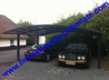 double aluminium carport with dark brown frame and bronze PC solid roofing panel 16