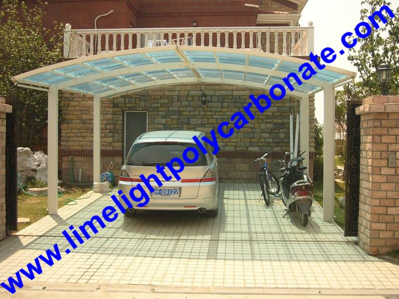 double aluminium carport with dark brown frame and bronze PC solid roofing panel 17