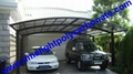 double aluminium carport with dark brown frame and bronze PC solid roofing panel 18