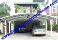double aluminium carport with dark brown frame and bronze PC solid roofing panel 20
