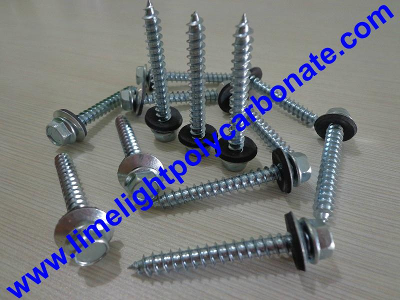Self drilling wood screw with EPDM gasket for polycarbonate sheets & PVC sheets  1