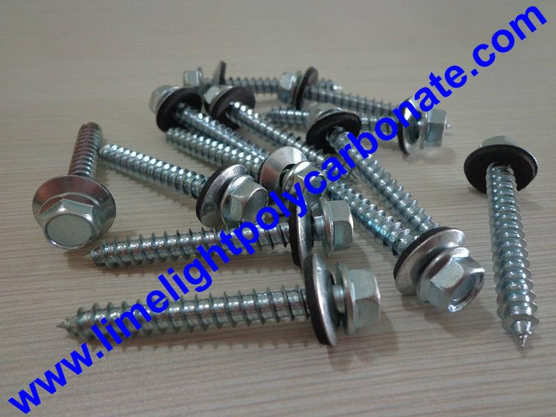 Self drilling wood screw with EPDM gasket for polycarbonate sheets & PVC sheets  2