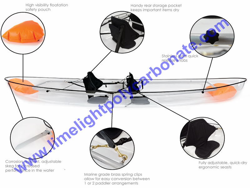 Transparent kayak polycarbonate kayak clear kayak crystal kayak PC kayak polycarbonate canoe clear canoe transparent canoe PC canoe kayak paddling see bottom kayak see through kayak