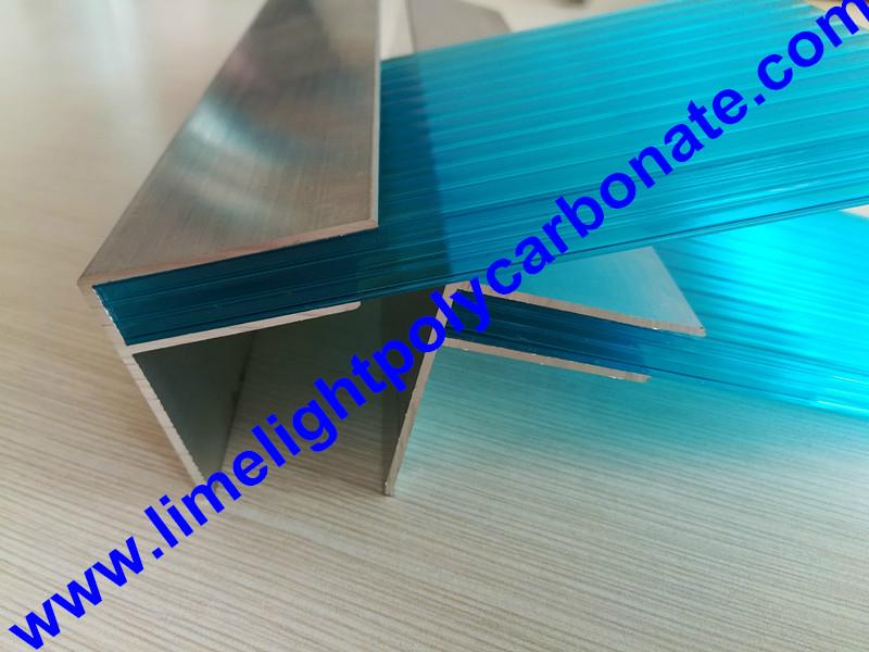 Aluminium F profile for end closure of PC sheet on the beam or side wall fixing 1