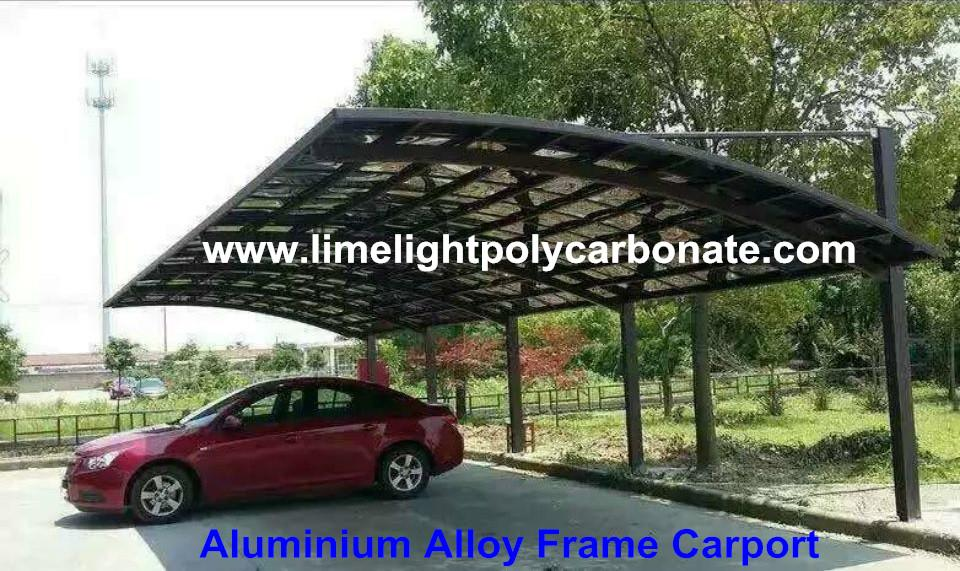 Cantilever carport with powder coated aluminium alloy frame and polycarbonate 1