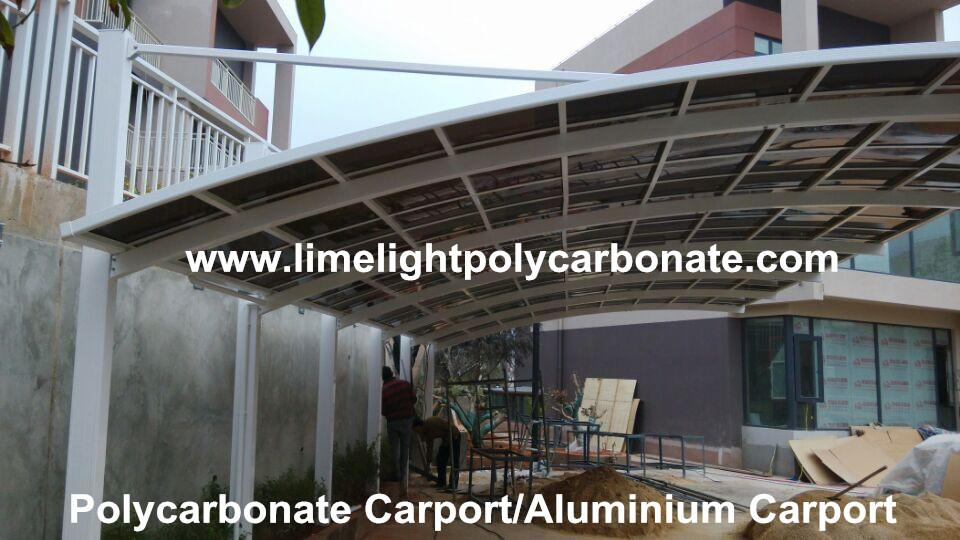 Cantilever carport with powder coated aluminium alloy frame and polycarbonate 5