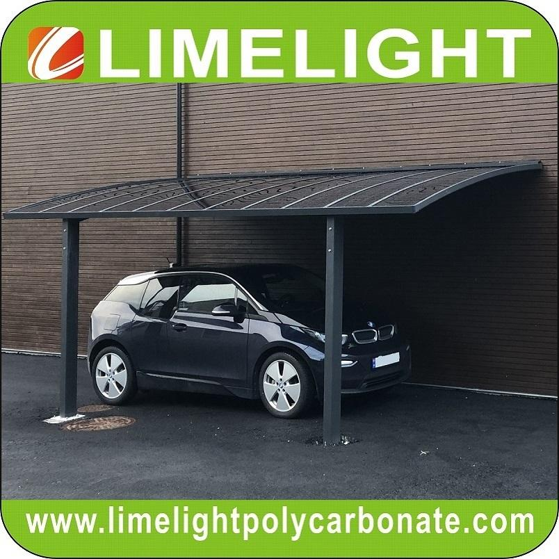 Grey aluminium frame carport with grey polycarbonate glazing carport awning 1