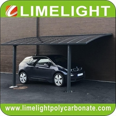 Grey aluminium frame carport with grey polycarbonate glazing carport awning