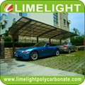 Extended aluminum carport with bronze frame and bronze polycarbonate solid sheet
