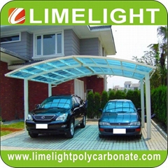 Double aluminium carport with white frame and blue polycarbonate solid roofing