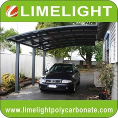customized aluminium carport with grey frame and dark grey polycarbonate roofing