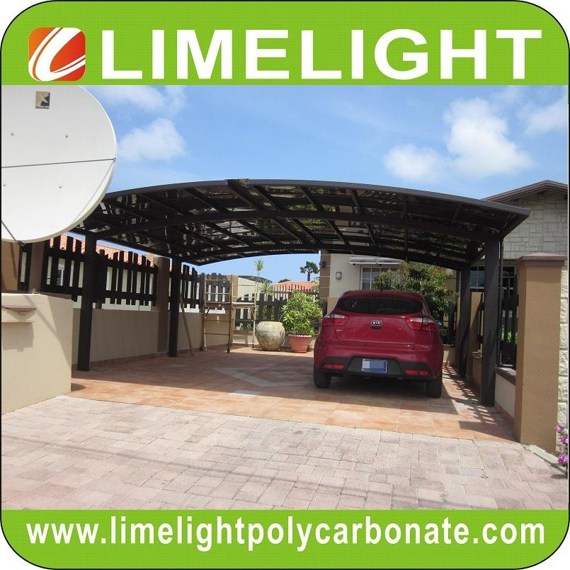 double aluminium carport with dark brown frame and bronze PC solid roofing panel 1