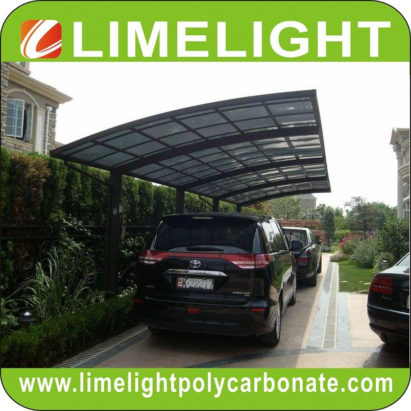 double size aluminum carport with bronze aluminium frame and grey PC solid sheet 1