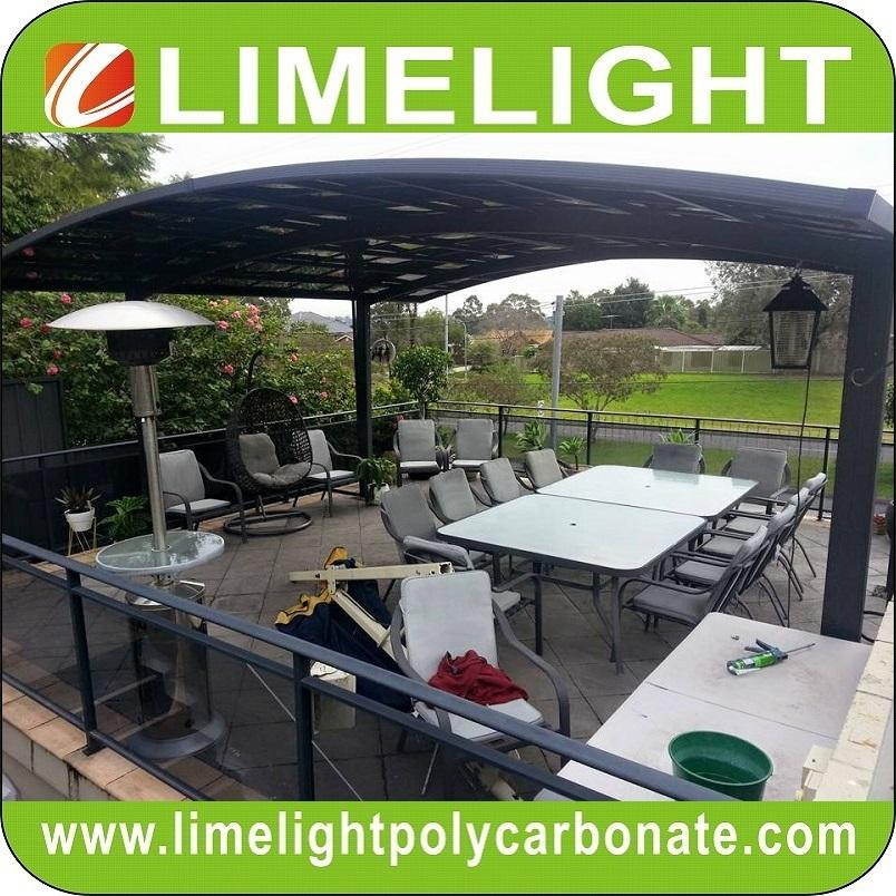 double size aluminum carport with bronze aluminium frame and grey PC solid sheet 2