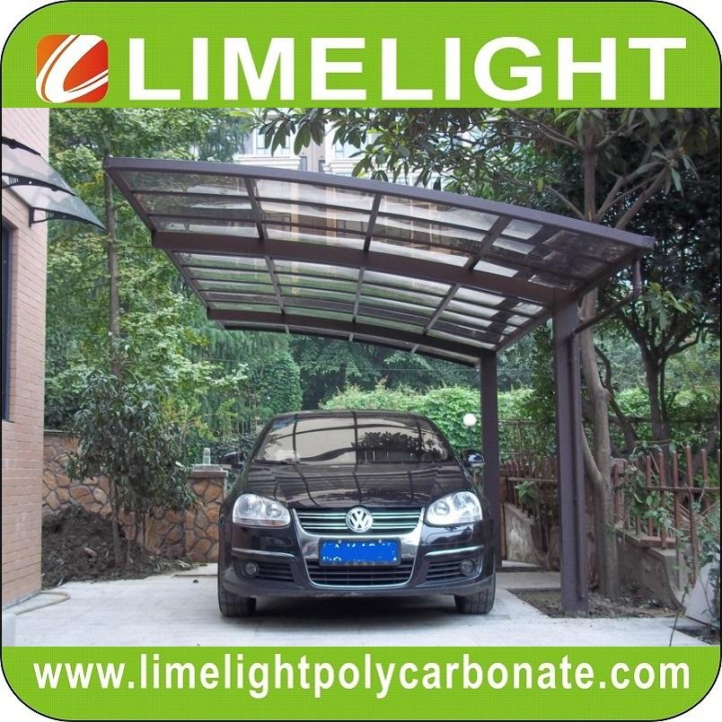 double size aluminum carport with bronze aluminium frame and grey PC solid sheet 4