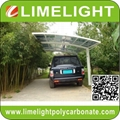 double size aluminum carport with bronze aluminium frame and grey PC solid sheet 5