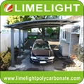 double size aluminum carport with bronze aluminium frame and grey PC solid sheet 10