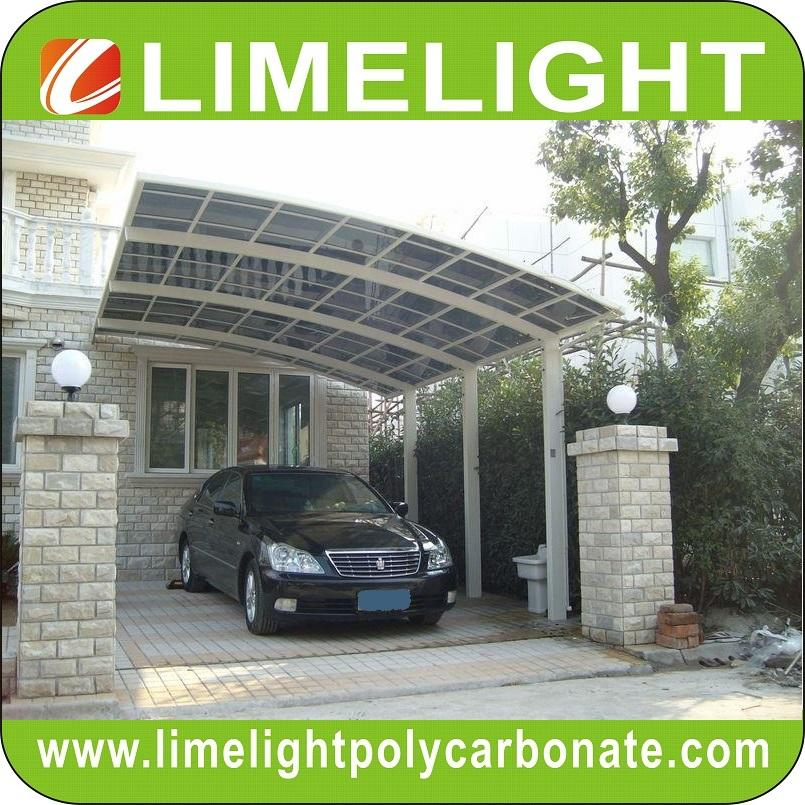 double size aluminum carport with bronze aluminium frame and grey PC solid sheet 14