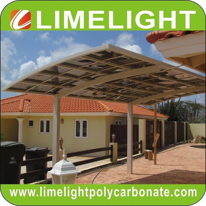 double size aluminum carport with bronze aluminium frame and grey PC solid sheet 16